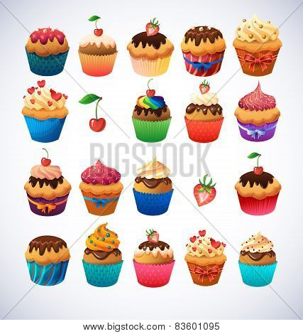 Super cupcake pack. Chocolate and vanilla icing cupcakes. Strawberry, cherry, cream