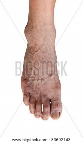 foot of elderly woman isolate on white background.