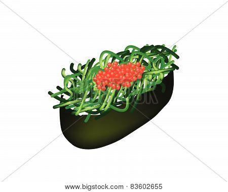 Chuka Wakame Seaweed Salad Sushi With Tobiko Roe