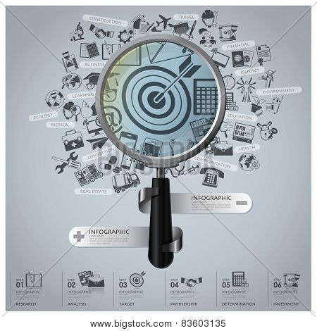 Business And Financial Infographic With Magnifying Glass And Icon