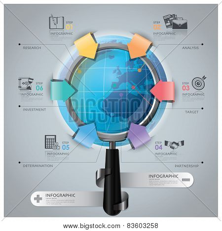 Global Business And Financial Infographic With Magnifying Glass Arrow Round Circle Diagram