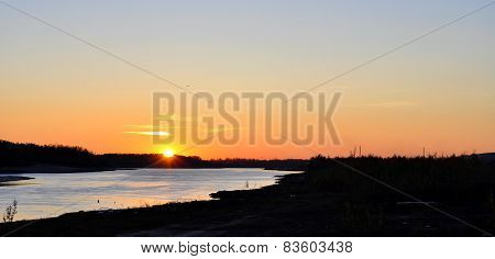 Sunset on the river - landscape