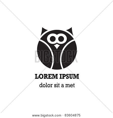 Stylized owl on white background.