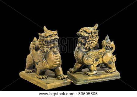 Chinese talisman figurine black background