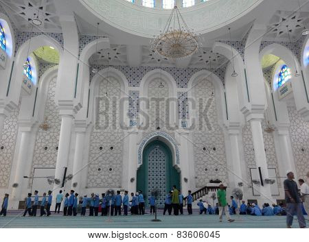 Interior of Sultan Ahmad Shah 1 Mosque in Kuantan, Malaysia