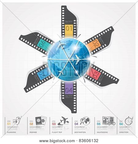 Global Travel And Journey Infographic With Film Round Circle Diagram