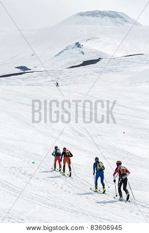 Ski Mountaineering Championships: Group Ski Mountaineer Rise To Volcano On Skis
