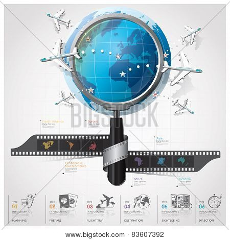 Global Travel And Journey Infographic With Magnifying Glass Film Spiral