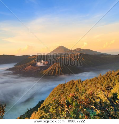 Bromo Mountain In Tengger Semeru National Park At Sunrise, East Java, Indonesia