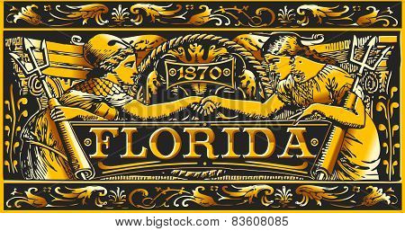 Vintage Florida Label Plaque, Black And Gold