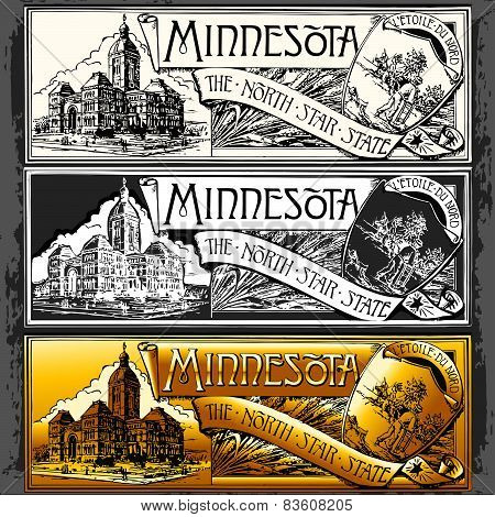 Vintage Minnesota Label Plaque, Withe, Black And Gold