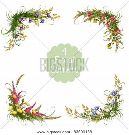 Vector floral corners on transparent background