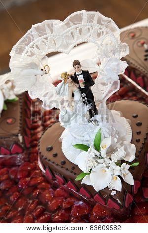 Wedding Chocolate Cake With Couple Figurines