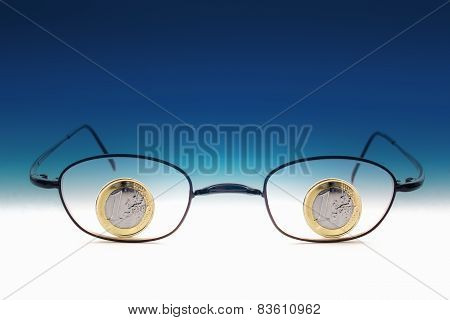 Eyeglasses With One Euro Coins
