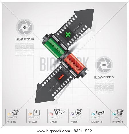 Business And Financial Infographic With Shutter Arrow Film Diagram Concept