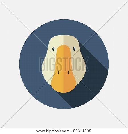 Goose Flat Icon With Long Shadow