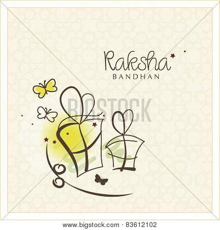 Beautiful greeting card design for the Indian festival Raksha Bandhan