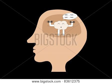 Brain Cartoon Exercise Inside Human Head