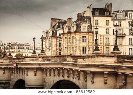 Paris, France. Pont Neuf Vintage Stylized Photo