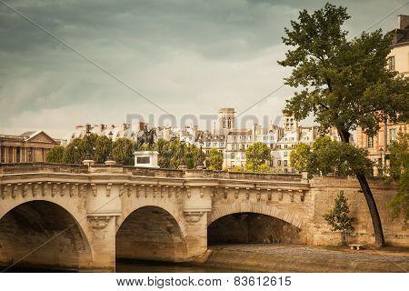 Pont Neuf In Paris. Vintage Toned Photo