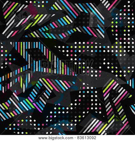 Grunge Spectrum Color Geometric Seamless Pattern