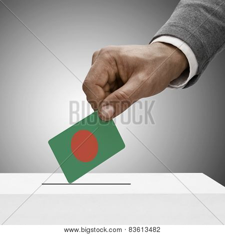 Black Male Holding Flag. Voting Concept - Bangladesh