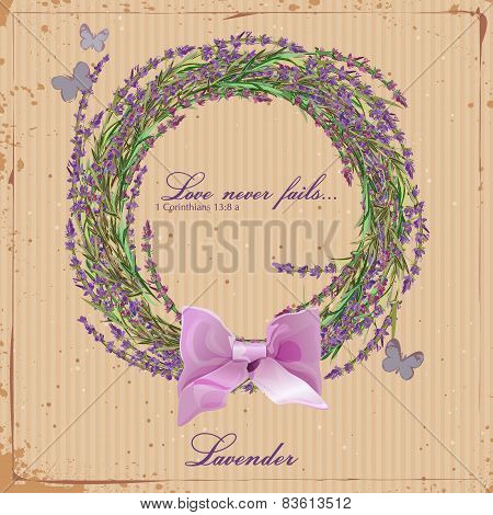 Lavender. Wreath of herbs of Provence.