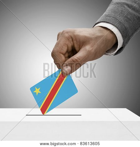 Black Male Holding Flag. Voting Concept - Democratic Republic Of The Congo