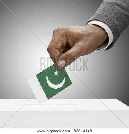 Black Male Holding Flag. Voting Concept - Pakistan