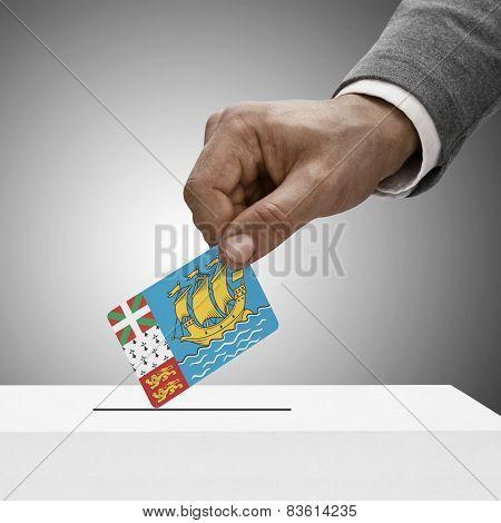 Black Male Holding Flag. Voting Concept - Saint Pierre And Miquelon