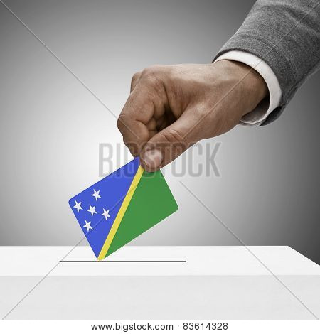 Black Male Holding Flag. Voting Concept - Solomon Islands