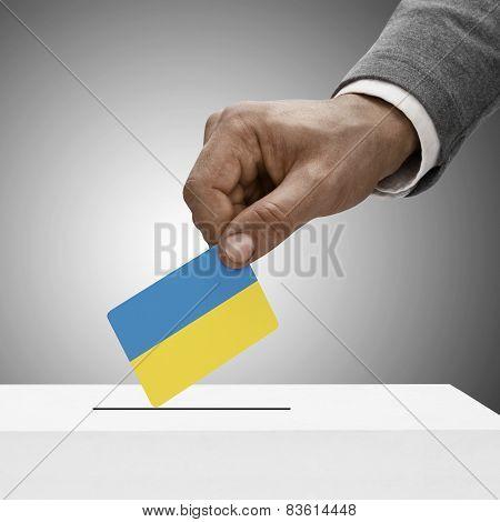 Black Male Holding Flag. Voting Concept - Ukraine