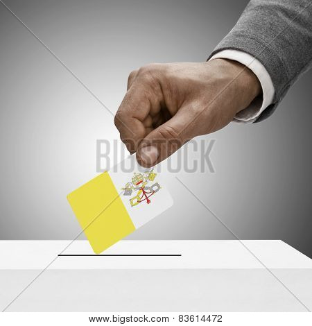 Black Male Holding Flag. Voting Concept - Vatican City