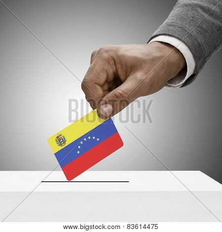 Black Male Holding Flag. Voting Concept - Venezuela