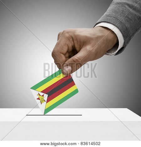 Black Male Holding Flag. Voting Concept - Zimbabwe