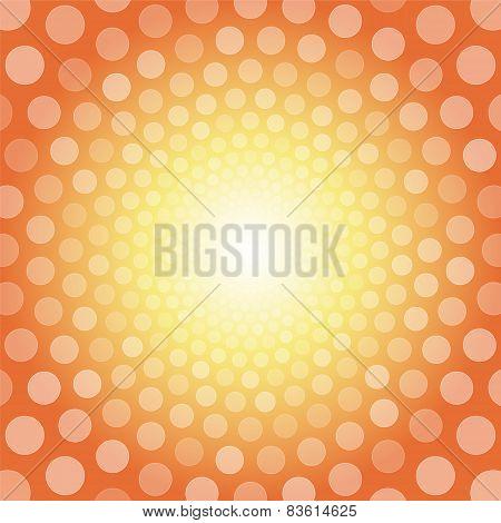Orange Background With White Polka Dots