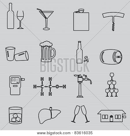 Alcohol Simple Outline Black Icons Set Eps10