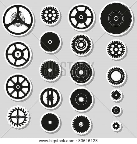 Various Cogwheels Parts Of Watch Movement Stickers Eps10