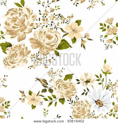Roses seamless background. Vector illustration.