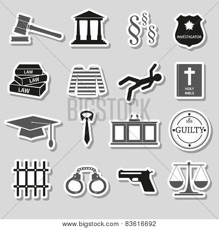 Justice And Law Gray Stickers Set Eps10