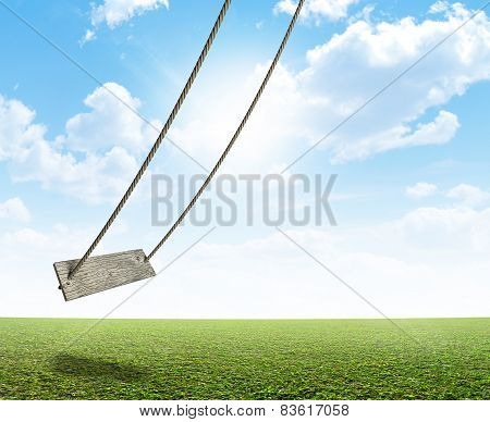 Rope Swing On Green Field