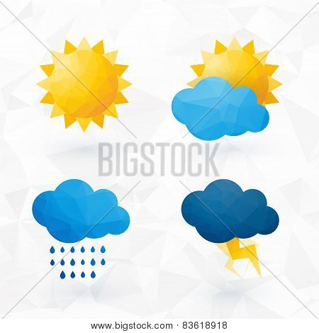 Icons For Weather With Sun And Cloud Motif With Triangles