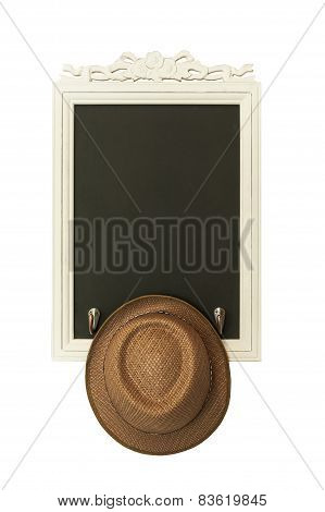 Vintage Slate Chalk Board With Brown Hat On The White Background