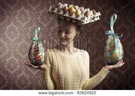 Vintage Funny Easter Woman