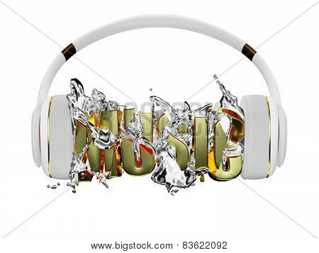 Chrome liquid from the headphones breaks inscription music. stylish white with gold headphones, and