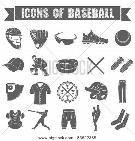 Set of icons of baseball on white isolated background