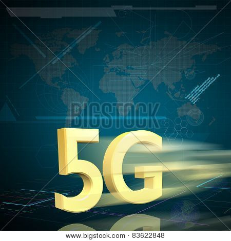 Symbol Of Gold 5G Speed Internet On Digital Background