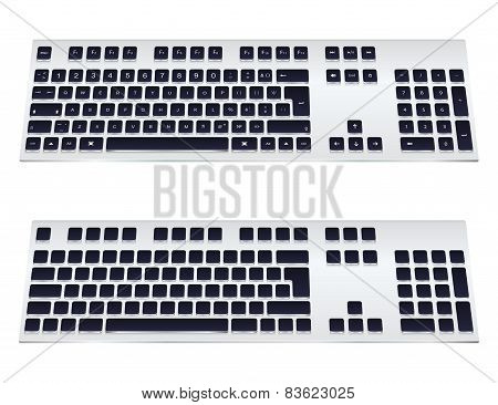 Vector Illustration of a Modern Keyboard on a White Background