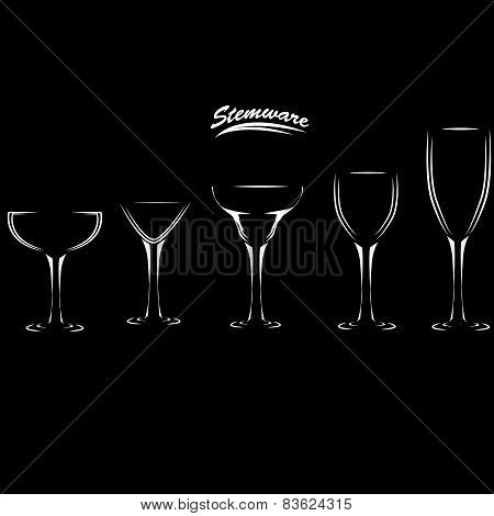 glasses Wine, brandy, whiskey, martinis silhouette