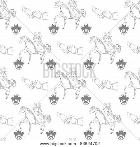 Vector seamless wedding pattern on white background